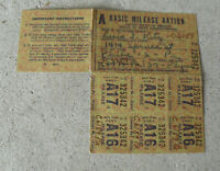 Vintage WWII Basic Mileage Ration ID Card with Coupons for 1937 Plymouth