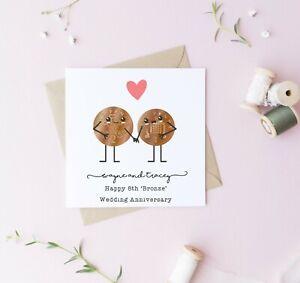 Personalised 8th wedding anniversary card, bronze, husband, wife, anniversary,