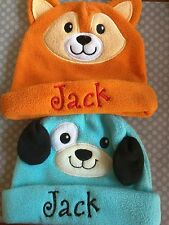 baby name personalized fleece animal hats girl boy pink blue cat dog fox bear
