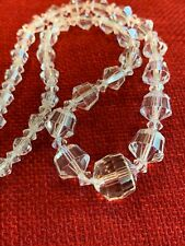 Vintage Faceted Clear Cut Crystal Beaded Art Deco Necklace, Sterling Clasp 16""