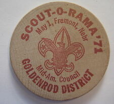 1971 SCOUT-O-RAMA Mid-Am Council, Goldenrod District WOODEN NICKEL