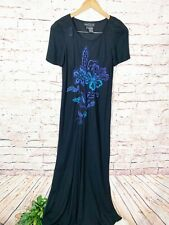 Carole Little Black Short Sleeve Embroidered Maxi Dress Womens Size 6