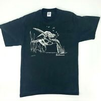 Vintage Bahamas Turtle Shirt Size L Black Short Sleeve Crew Neck Nature Tee 1991