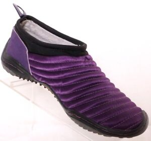 Jambu Bare Feet Design Purple Satin quilted Slip-On shoes Lined Flat Womens 6