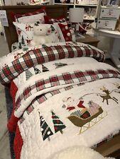 Nwt Pottery Barn ~Merry Santa~ F/Q Quilt & 2 Euro Shams ~Christmas~ Heritage