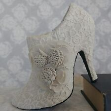 DOLCE High Heel Bootie Shoe Flora Wedding Bridal Beige Ivory Lace Floral 7.5