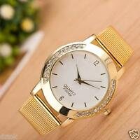 Women Golden Crystal Watch Stainless Steel Analog Quartz Bracelet Wrist Watch