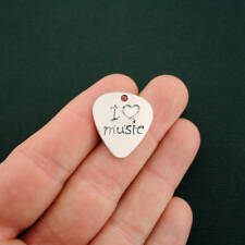8 Music Charms Antique Silver Tone I Love Music Guitar Pick 2 Sided - SC6928