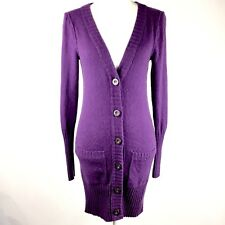 Juicy Couture Womens Cardigan Sweater Purple Cashmere/Wool Cable Knit Back Sz S