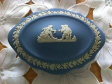 Vintage/Retro Wedgwood Blue Jasper Ware Trinket Box with Cherub Design