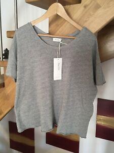 AMERICAN VINTAGE, Designer T-Shirt, grau, M, Rundhals cotton gestrickt neuwertig