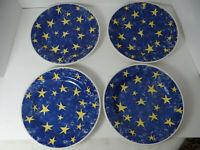 Churchill England Set 4 Dinner Plates Yellow Stars on Blue CCH14 Pier 1