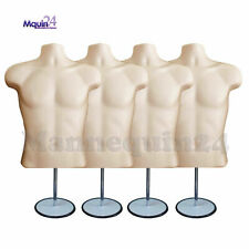 4 Male Torso Mannequin Forms Flesh w/ 4 Stands + 4 Hanging Hooks Men Clothings
