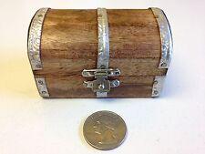 HAND MADE WOOD TREASURE CHEST / TRINKET BOX / SPIRITUAL JOB BOX WITH METAL CLASP