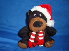"Sears Christmas Plush Beanbag Black Bear 2010 Crispin 5.5"" tall"