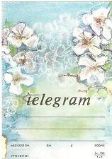 TELEGRAMME POLOGNE FLEURS  14 x 20,1cm