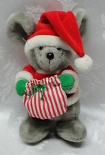 "Baby Dakin Santa Mouse 8"" Vintage Sack Plush POM Stocking Cap Bag Green Mittens"