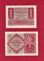 TWO SCARCE AUSTRIA UNC 1922 NOTES: 1 EINE KRONE (P-73) & 2 ZWEIN KRONEN (P-74)