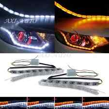 2x LED Sequential DRL Strip Daytime Running Light Switchback Amber Turn Signal