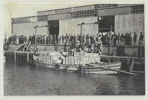 Judaica Palestine Rare Old Postcard building the Tel Aviv Port Citrus Shipment