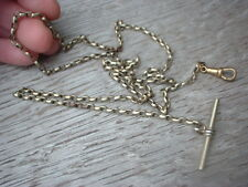 antique vintage  very long pocket fob watch chain t bar & dog clip silver plated
