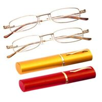 Chic Metal Frame Lens Slim Reading Glasses/Spring Hinges Aluminum Pen Tube Case
