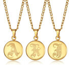 Monogram Alphabet Initial Letter A-Z Charm Pendant Necklace Gold Stainless Steel photo
