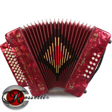 Rossetti 3112 GCF Sol 31 Button Diatonic Accordion - Red with Strap and Case