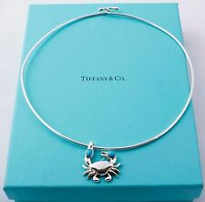 Rare, Darling Tiffany & Co Sterling Silver Turquoise Crab Pendant Wire Necklace
