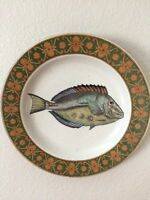 Vintage Chinese Large Painted Fish Plate Wall Decor Floral Gold Trim