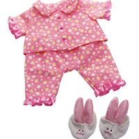Manhattan Toy Doll Clothes PJ's Pajamas Slippers Bunny Pink Baby Stella 12m+ NEW
