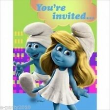 SMURFS INVITATIONS (8) ~ Birthday Party Supplies Stationary Invites Cards Notes