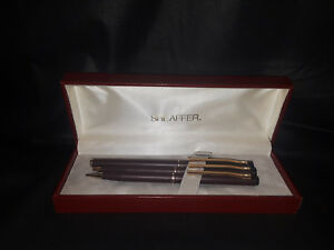 Vintage 14K Sheaffer TRZ63 Maroon & Gold Writing Instrument Set (Brand New!)
