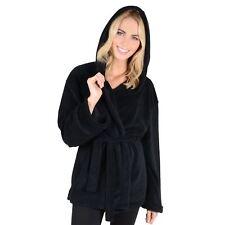 Womens Mini Bathrobe With Hood - Luxury Soft Fleece Dressing Gown Housecoat Black Medium