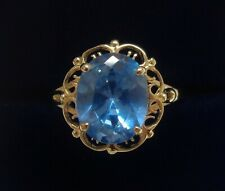 Fine Blue Topaz Ring 9ct Yellow Gold - Size N 1/2 (US 6.87) - 1.9 grams