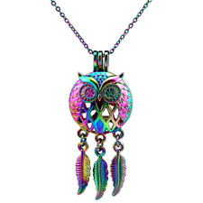 "RAINBOW Owl Pendant Dream Catcher Beads Cage Diffuser Steel Chain 18""---C707"