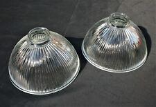 2 x RIBBED GLASS HOLOPHANE LIGHTSHADES.