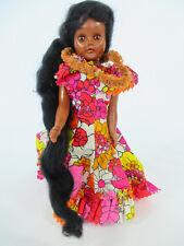 """Vintage HAWAIIAN HULA GIRL SLEEP EYES DOLL w/LONG HAIR 7.5"""" (dancer toy Hawaii)"""