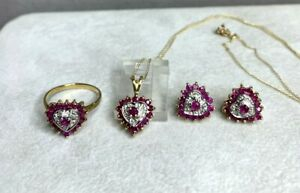 THI 10K Yellow & White Gold Rubies/Diamonds Hearts Necklace,Earrings,Ring Set