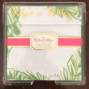 LILLY PULITZER 🌴 Small List Pad & Holder - Painted Palm - Life's A Party NEW