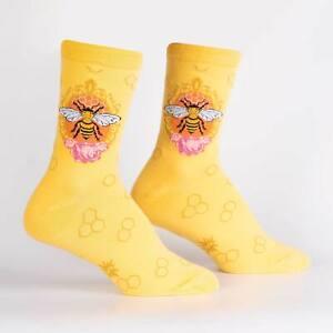 Queen Bee Sock It To Me Women's Crew Socks Yellow New Novelty Pollinator Fashion