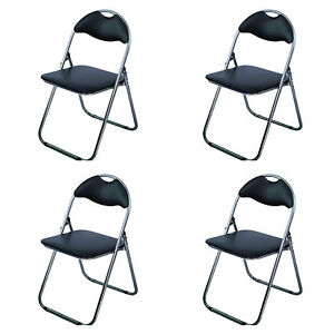 Padded FOLDING CHAIRS STOOL Fold Up Away Flat Guest Home Office Extra Spare Seat