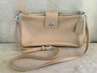 Coach Vintage Leather Tan Turn Lock crossbody Shoulder Bag Handbag Purse 9818