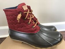 SPERRY WOMEN'S SALTWATER SHINY QUILT RAIN SNOW DUCK BOOT WINE WATERPROOF  9