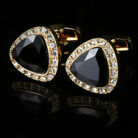 New Gold Plated French Cufflinks Black Diamond Men's Cufflinks Wedding Gifts
