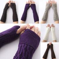 inverno maglia lunga Guanti senza dita donna manica da braccio caldo morbido
