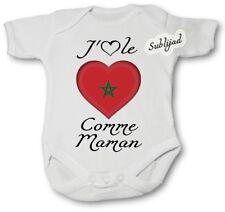 Body bébé personnalise J aime le Maroc Comme Maman Manche Courte ou Longue