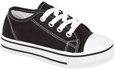 NEW! Boys Girls Kids Infants Black Pink Canvas Pumps Shoes Trainers Size 6-12