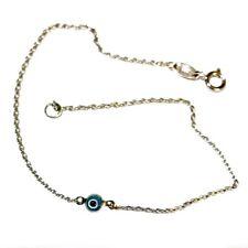 9ct 9kt White Gold bracelet Lucky Evil Eye protect Murano 3mm nazar mati Europe