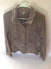 J Jill Large 100% Cotton Wide wale Corduroy Button Front Jacket Green size M